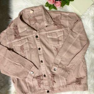 Blush Pink Denim Distressed Jacket 💕